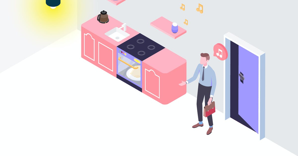 Download Smarthome Voice Control Isometric Illustration by angelbi88