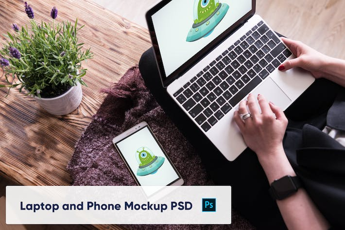 Thumbnail for Laptop and Phone Mockup PSD