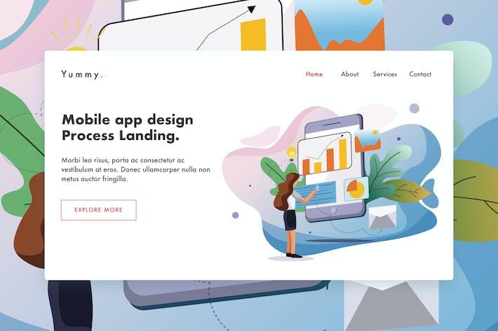 Thumbnail for Mobile App-Prozess-WebVorlage für Landing Page