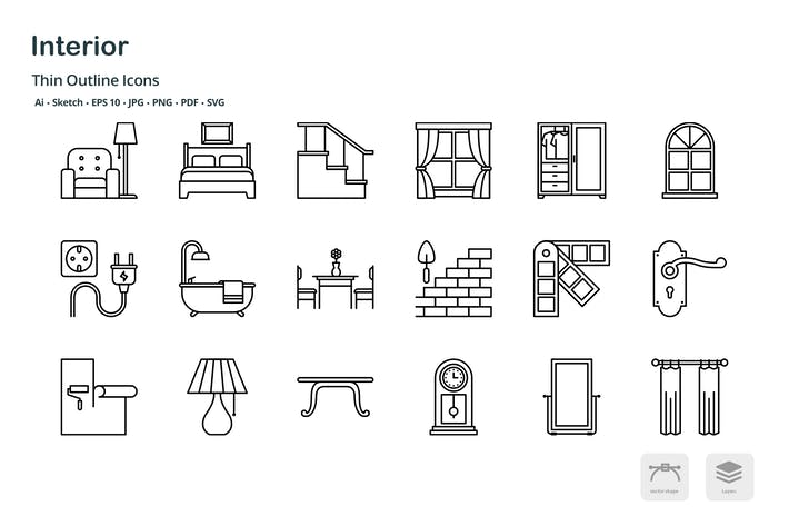 Thumbnail for Interior design thin outline icons