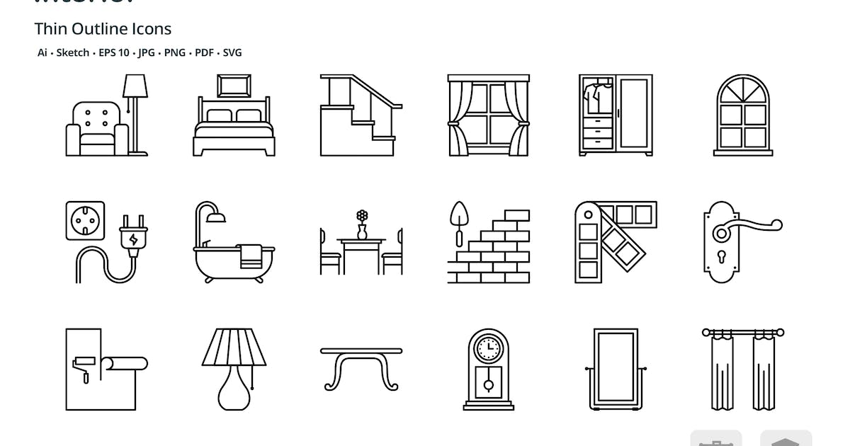Download Interior design thin outline icons by roundicons
