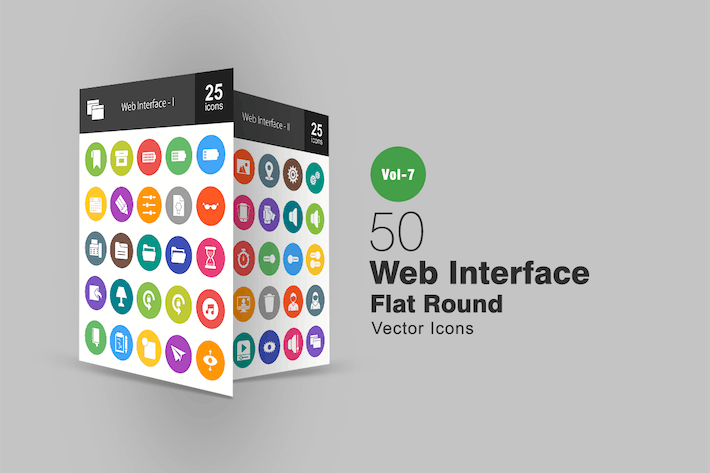 Thumbnail for 50 Web Interface Flat Round Icons