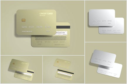 Credit card mockup with embossed style