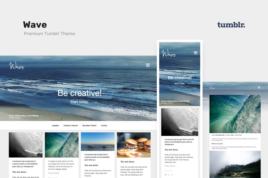Wave | Grid-based, Portfolio Tumblr Theme