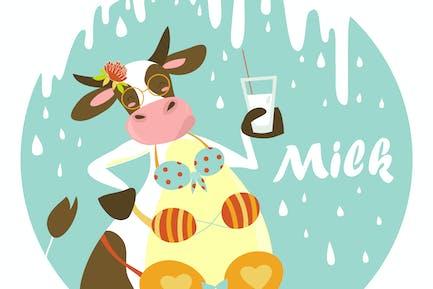 Lustige Kuh mit Glas Milch. Vektor illustration