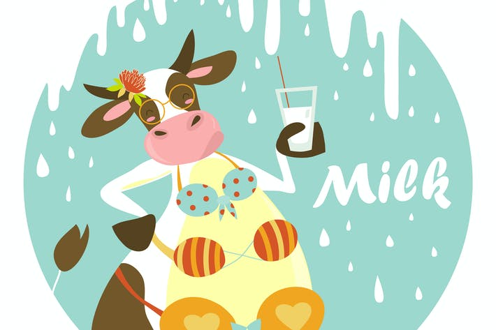 Thumbnail for Funny cow with glass of milk. Vector illustration