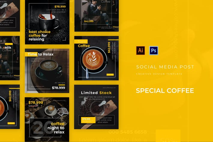 Thumbnail for Special Coffee Social Media Post Template