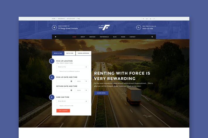 Thumbnail for Force - Car Rental & Service PSD Template