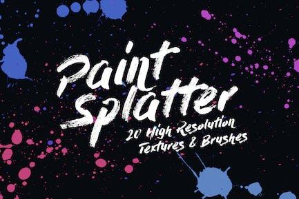 20 Texturas y Pinceles de salpicaduras de pintura