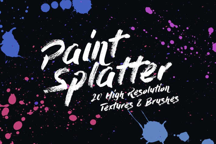 Thumbnail for 20 Paint Splatter Textures and Brushes
