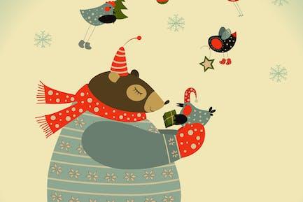 Oso y pájaros celebran la Navidad