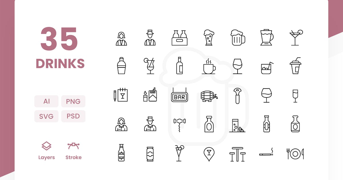 Download Drinks - Icons Pack by Zomorsky