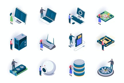 Computer Elements Isometric Icons Pack