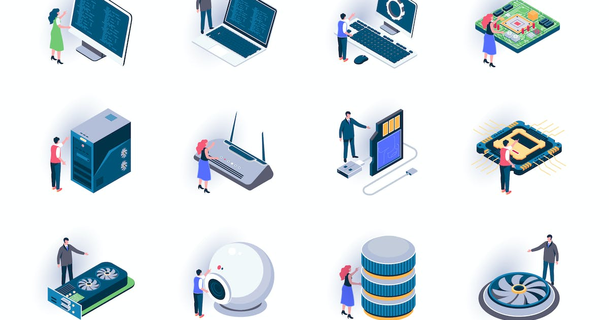 Download Computer Elements Isometric Icons Pack by alexdndz