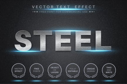 Bright steel - editable text effect,  font style