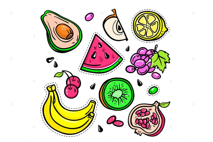 Thumbnail for Fruits - vector isolated retro stickers set
