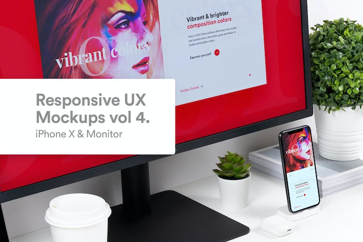 Thumbnail for Responsive Mockup iPhone X & Monitor Vol 4