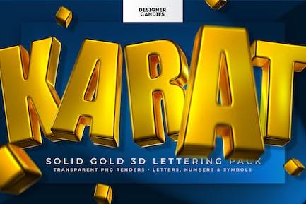 Karat ~ Paquete de letras doradas 3D