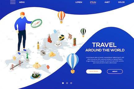 Travel around the world - isometric web banner
