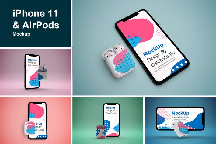 Thumbnail for iPhone 11 & AirPods Mockup