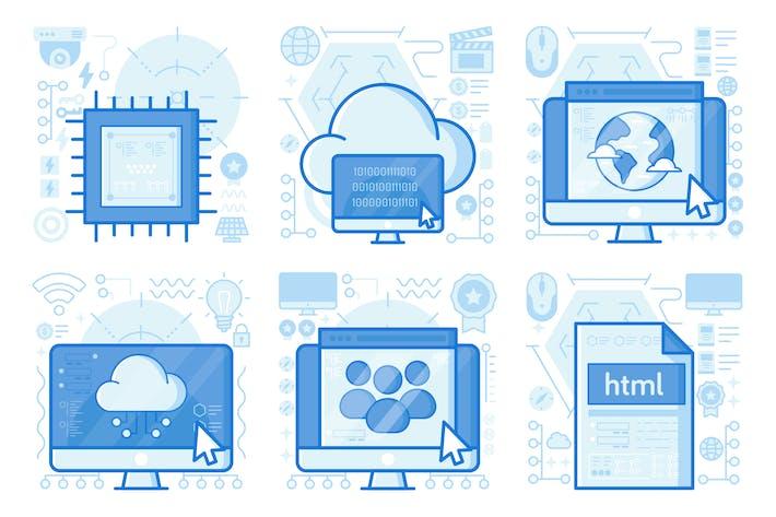 Cloud Coding UI UX Illustration