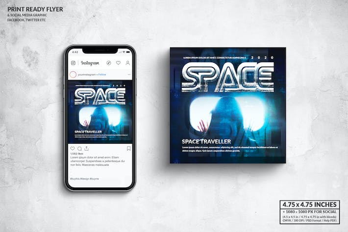 Thumbnail for Space Music Square Flyer & Social Media