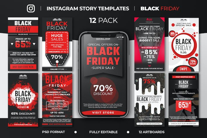 Thumbnail for Black Friday Instagram Story Feed Templates