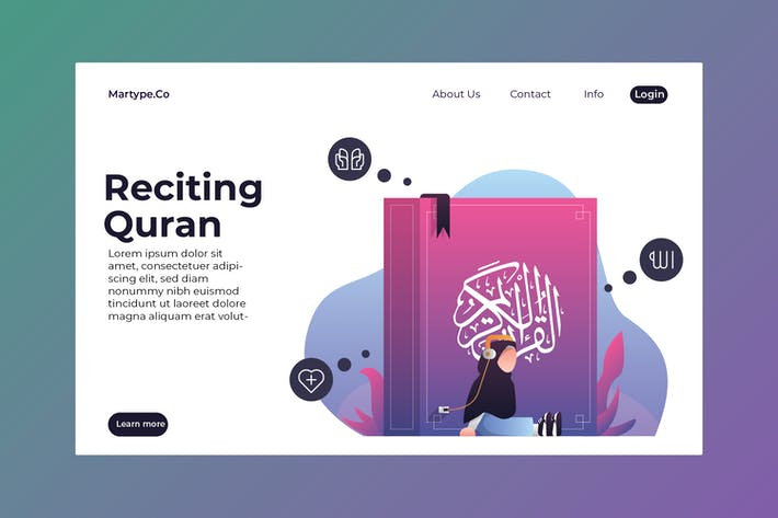Thumbnail for Reciting Quran Illustration Template