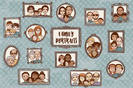 Family Portraits - Cute Hand Drawn Doodle Faces