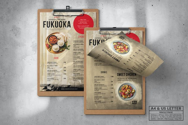 Food Menu Design - Single Page - A4 & US Letter