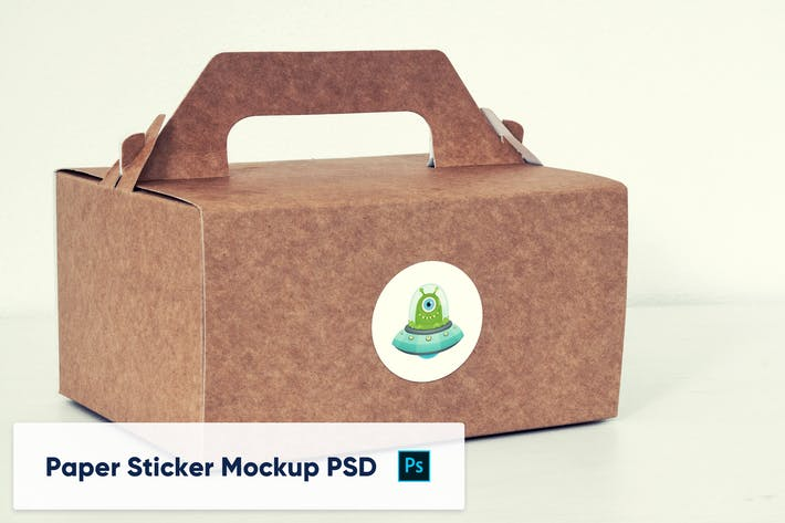 Thumbnail for Paper Box with Paper Sticker - Mockup PSD