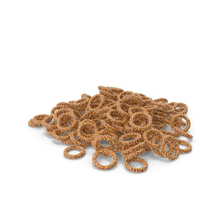 Pile Of Mini Pretzel Rings with Sesame