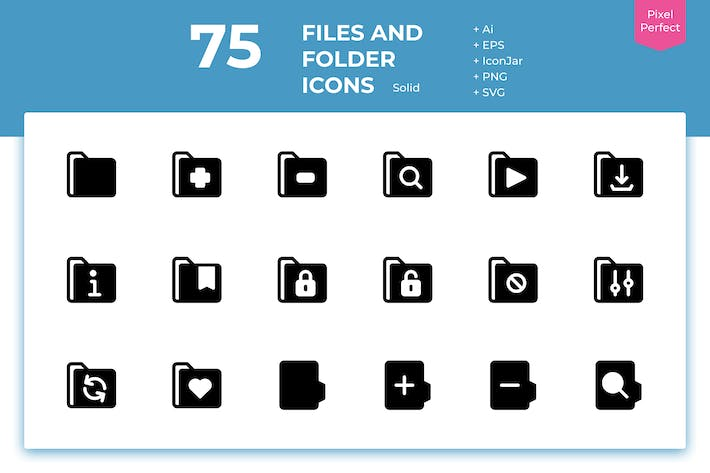 Thumbnail for 75 Files and Folder Icons (Solid)