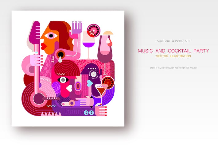 Cover Image For Music and Cocktails vector illustration