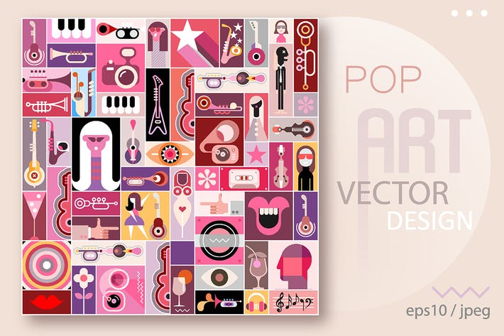 Thumbnail for Pop Art Vector Design, music collage
