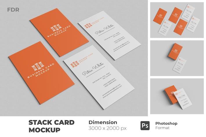 Stack Vertical Business Card Mockup