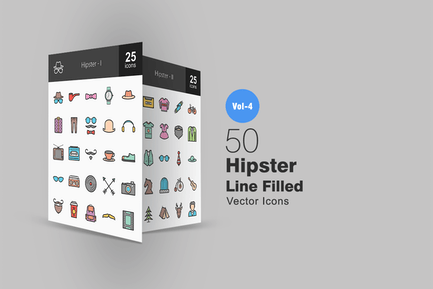50 Hipster Line Filled Icons