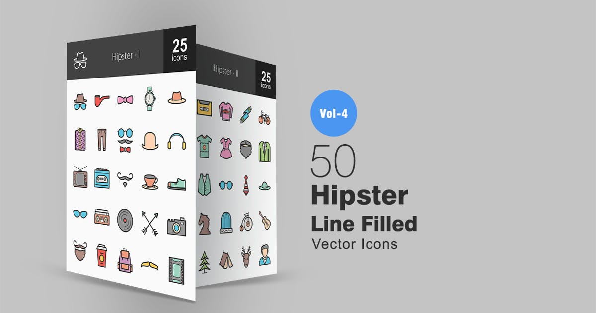 Download 50 Hipster Line Filled Icons by IconBunny