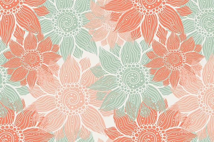 Thumbnail for Illustration von nahtlosen handgezeichneten Blumenmuster