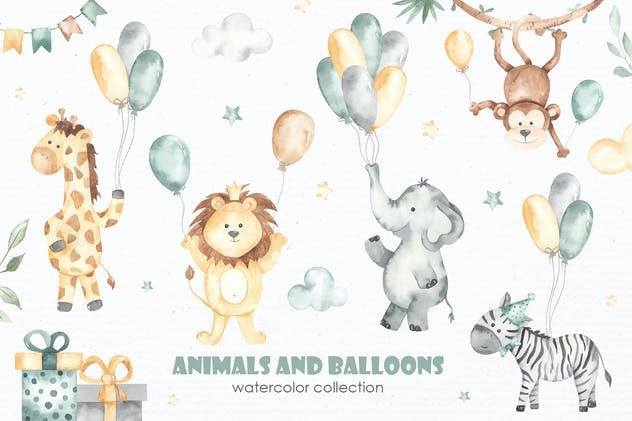 Animals and balloons Watercolor