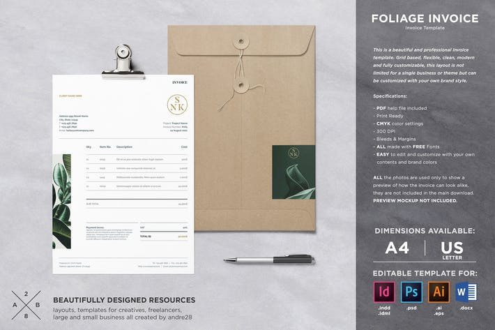 Thumbnail for Foliage Invoice Template