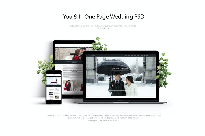 Thumbnail for You & I – One Page Wedding PSD Template