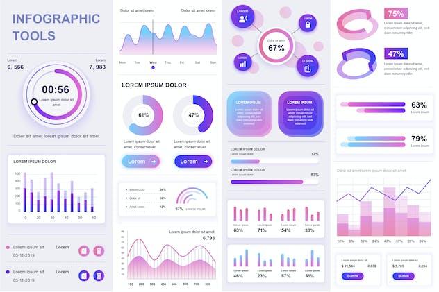 Gradient Infographics Template Vector Design