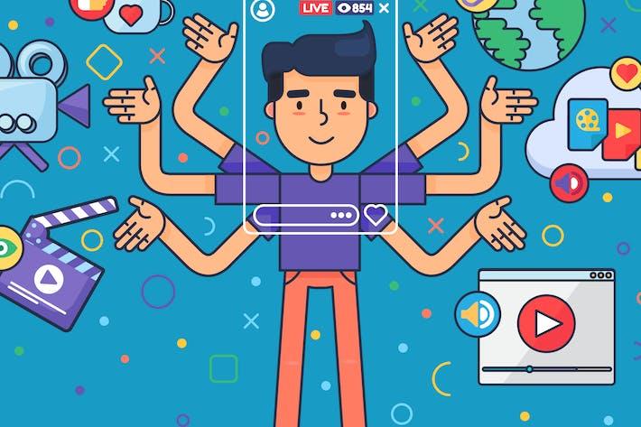 Thumbnail for European Male Vlogger Illustration
