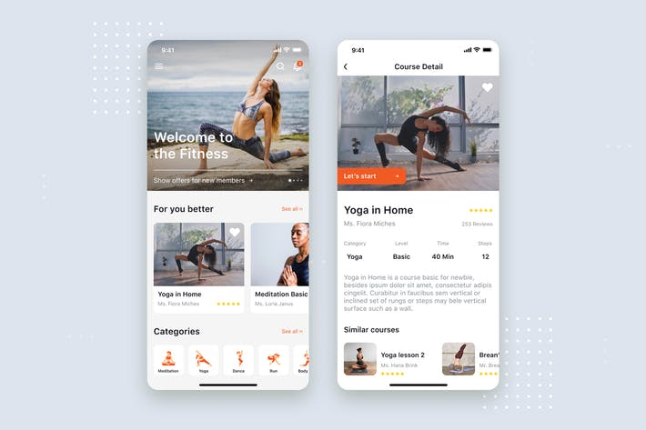 Thumbnail for Yoga & Fitness App mobile UI Concept