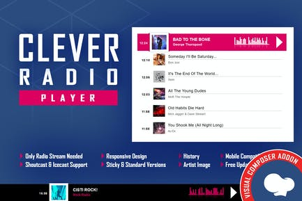 CLEVER - Reproductor de radio HTML5 - Addon para WPBakery