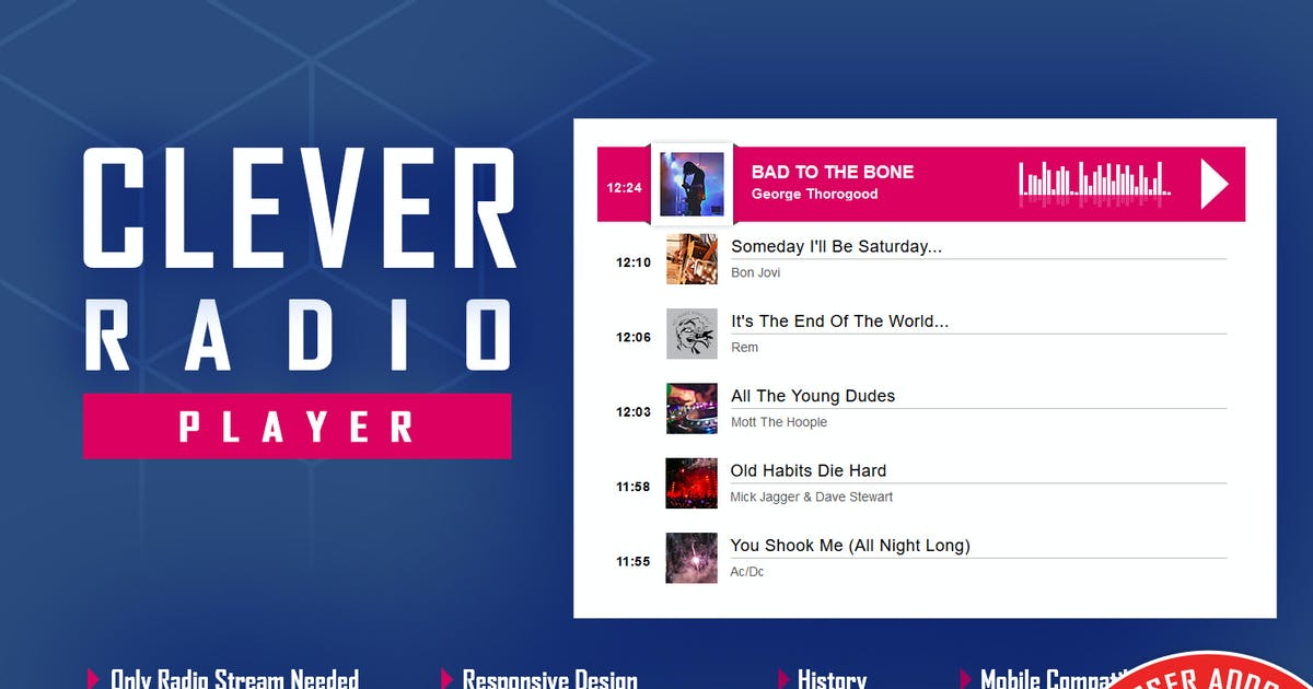 Download CLEVER - HTML5 Radio Player - Addon For WPBakery by LambertGroup