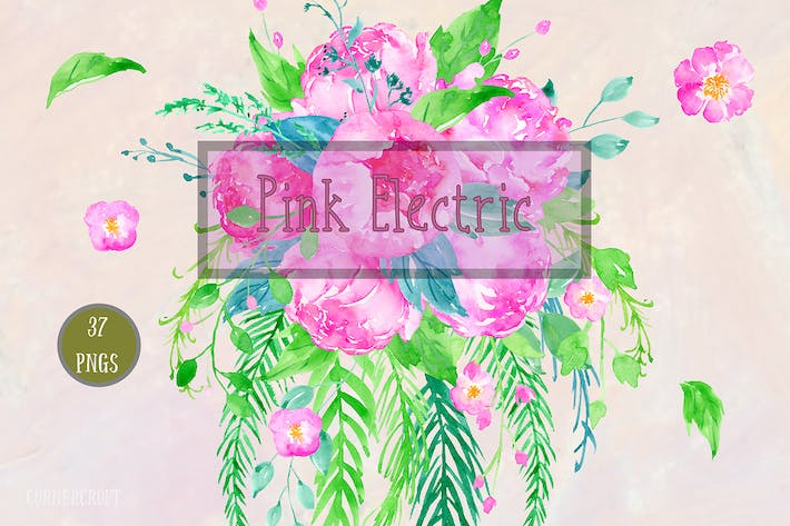 Thumbnail for Watercolor Clipart Pink Electric