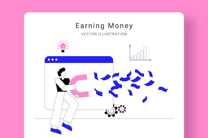 Thumbnail for Earning Money Vector Illustration Scene