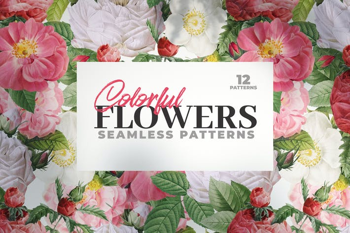 Thumbnail for 12 Colorful Seamless Flower Patterns
